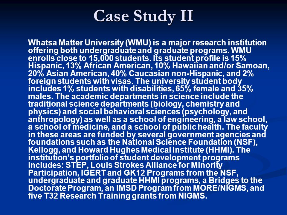 Case Study II Whatsa Matter University (WMU) is a major research institution offering both undergraduate and graduate programs.
