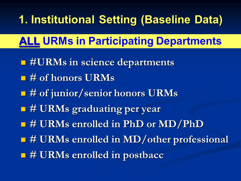 1. Institutional Setting (Baseline Data) #URMs in science departments #URMs in science departments # of honors URMs # of honors URMs # of junior/senio