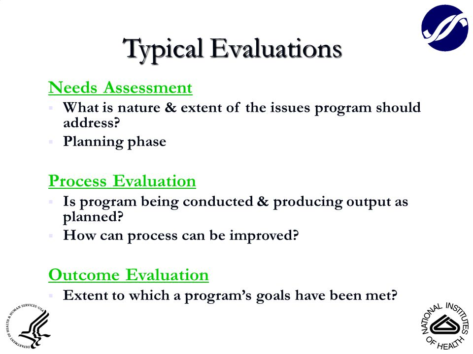Typical Evaluations Needs Assessment  What is nature & extent of the issues program should address.