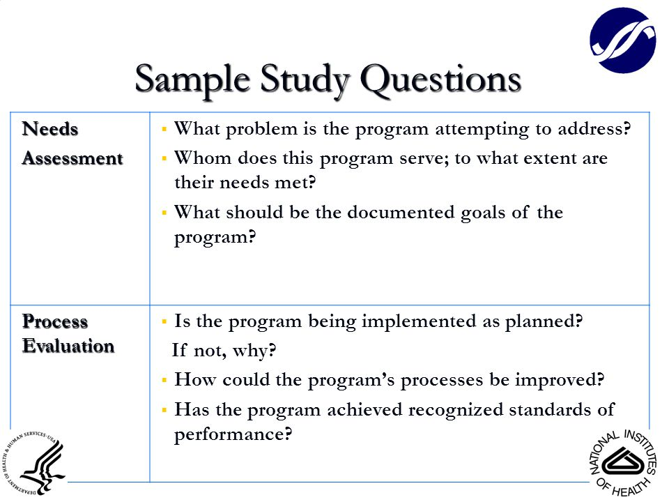 NeedsAssessment  What problem is the program attempting to address?  Whom does this program serve; to what extent are their needs met?  What should