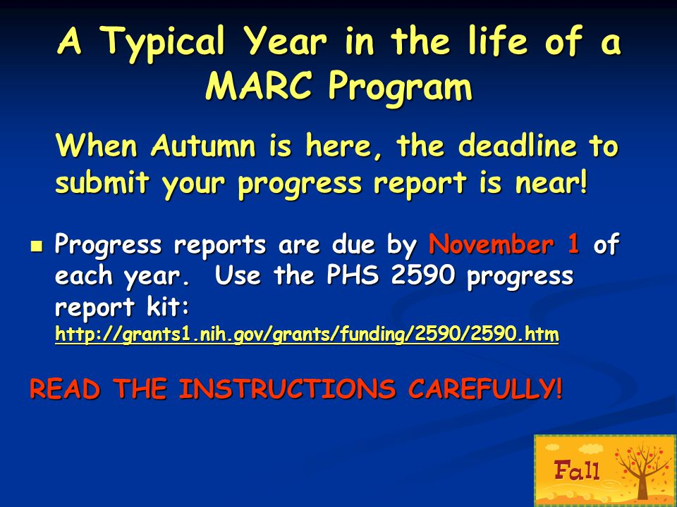 A Typical Year in the life of a MARC Program When Autumn is here, the deadline to submit your progress report is near! Progress reports are due by Nov