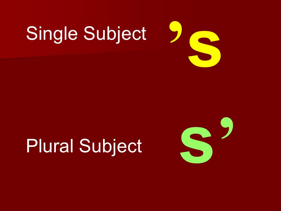 Single Subject Plural Subject c's c's s's'