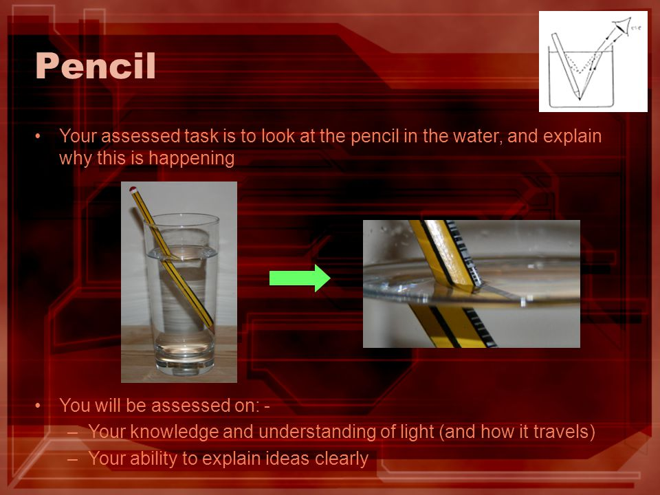 Pencil Your assessed task is to look at the pencil in the water, and explain why this is happening You will be assessed on: - –Your knowledge and understanding of light (and how it travels) –Your ability to explain ideas clearly