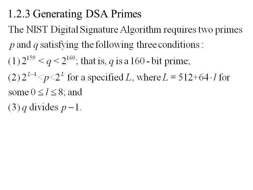 1.2.3 Generating DSA Primes