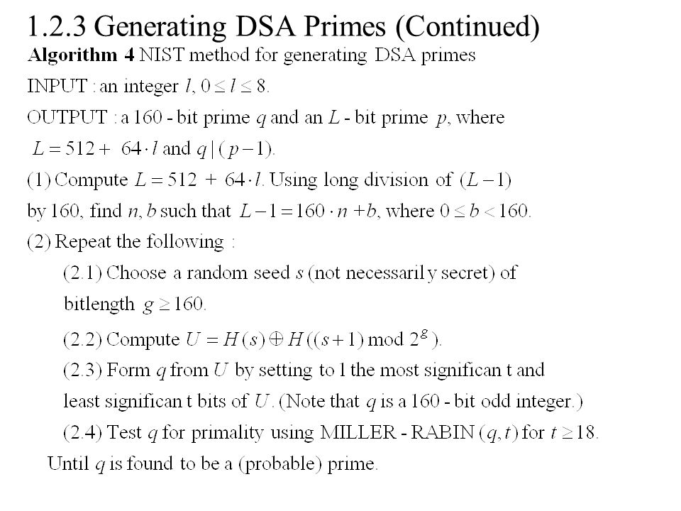1.2.3 Generating DSA Primes (Continued)