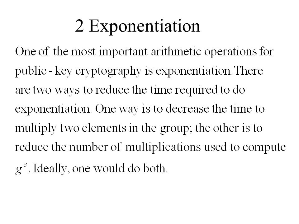 2 Exponentiation