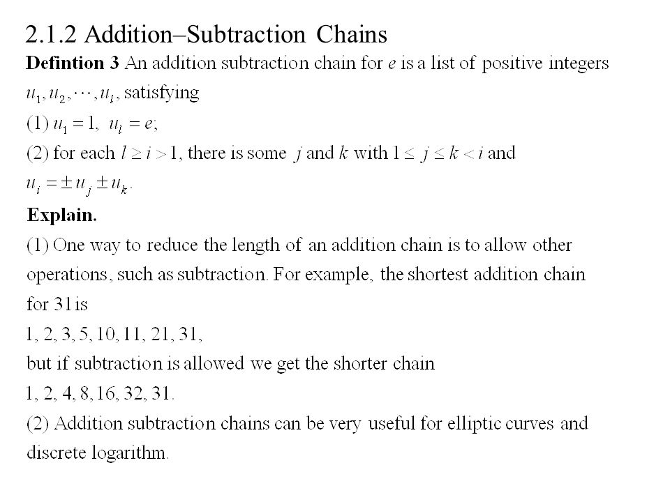2.1.2 Addition–Subtraction Chains
