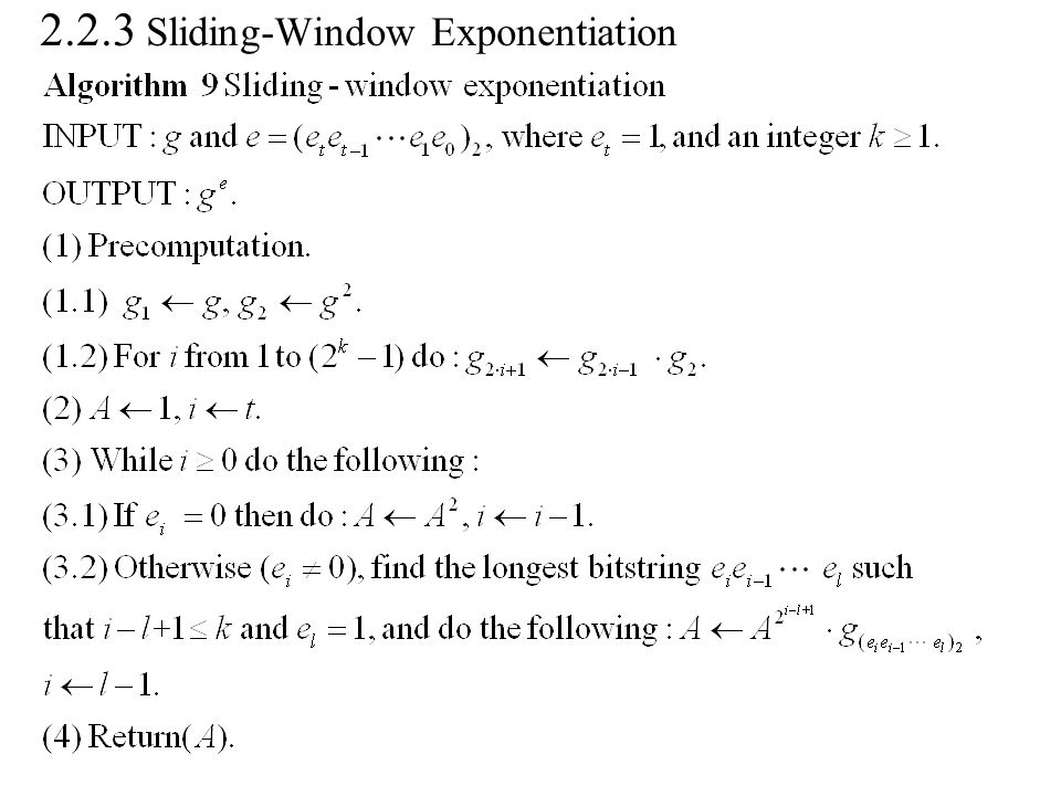 2.2.3 Sliding-Window Exponentiation