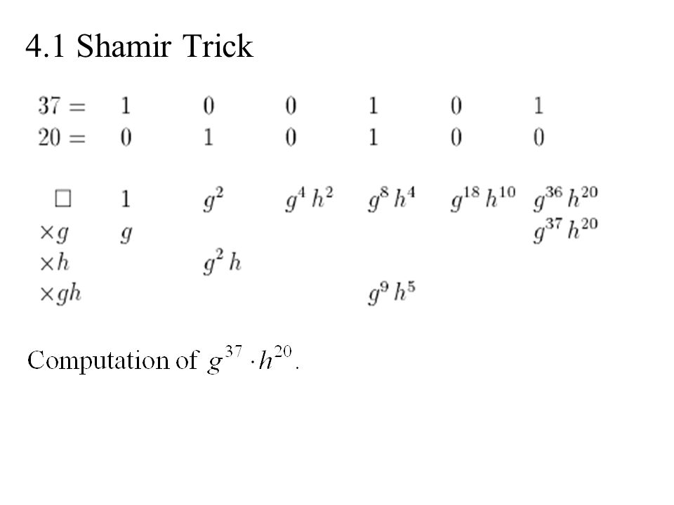 4.1 Shamir Trick