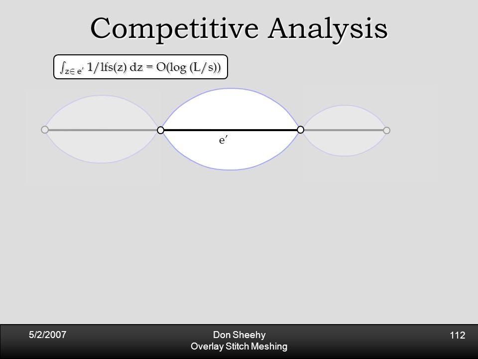 5/2/2007Don Sheehy Overlay Stitch Meshing 112 Competitive Analysis e' s z 2 e' 1/lfs(z) dz = O(log (L/s))