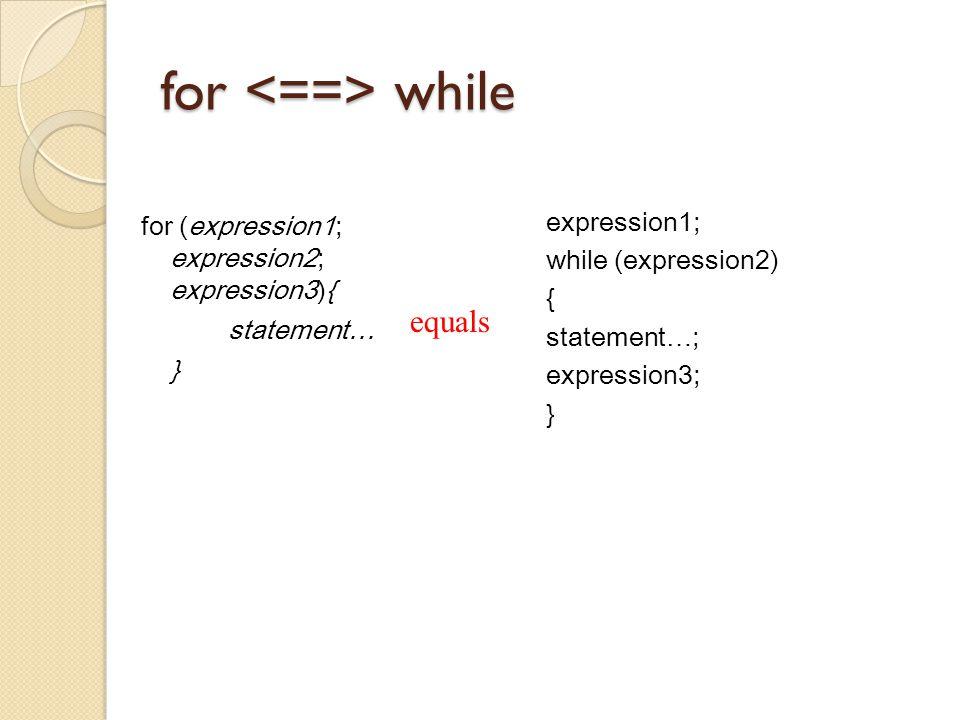 for while for (expression1; expression2; expression3){ statement… } expression1; while (expression2) { statement … ; expression3; } equals