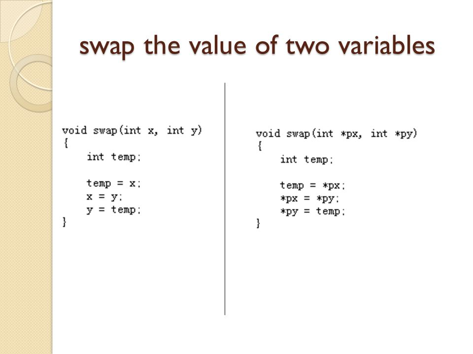 swap the value of two variables