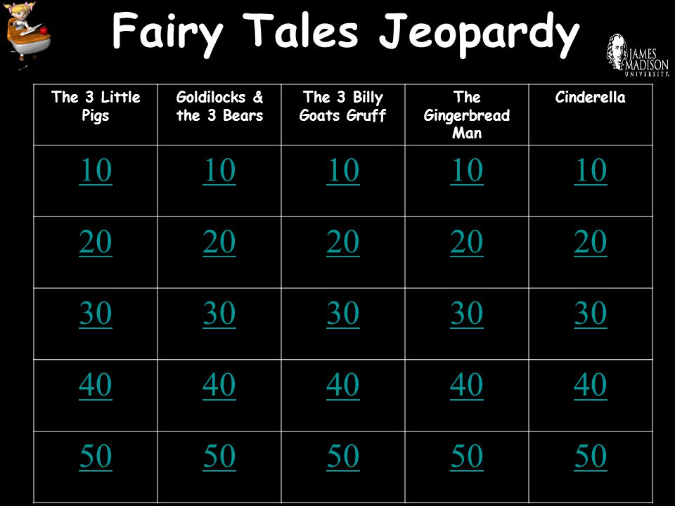 Fairy Tales Jeopardy The 3 Little Pigs Goldilocks & the 3 Bears The 3 Billy Goats Gruff The Gingerbread Man Cinderella 10 20 30 40 50