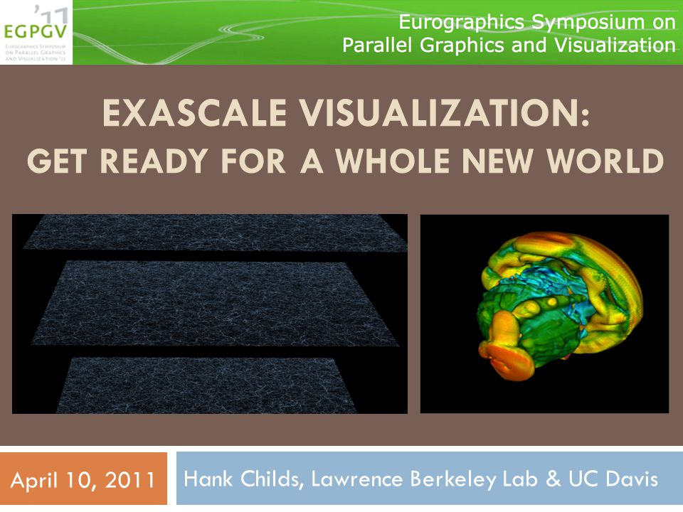 The message from this talk… Petascale Visualization Exascale Visualization I/O Bandwidth Data Movement Data Movement's 4 Angry Pups