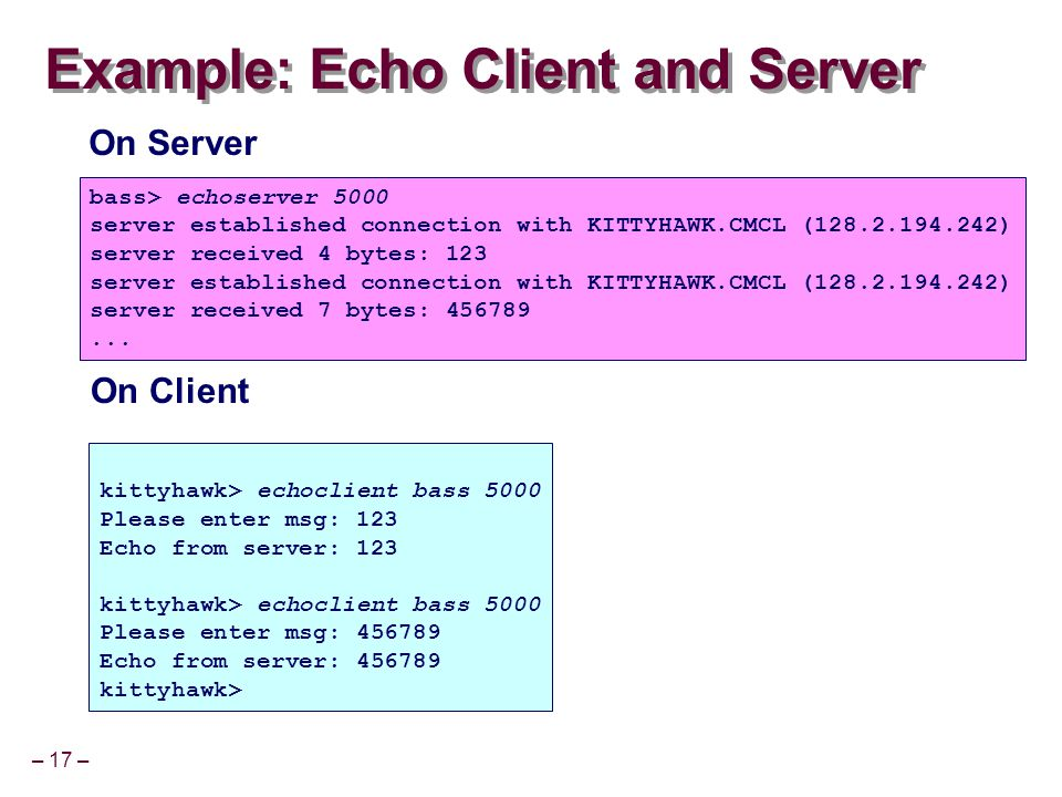 – 17 – Example: Echo Client and Server kittyhawk> echoclient bass 5000 Please enter msg: 123 Echo from server: 123 kittyhawk> echoclient bass 5000 Please enter msg: 456789 Echo from server: 456789 kittyhawk> bass> echoserver 5000 server established connection with KITTYHAWK.CMCL (128.2.194.242) server received 4 bytes: 123 server established connection with KITTYHAWK.CMCL (128.2.194.242) server received 7 bytes: 456789...