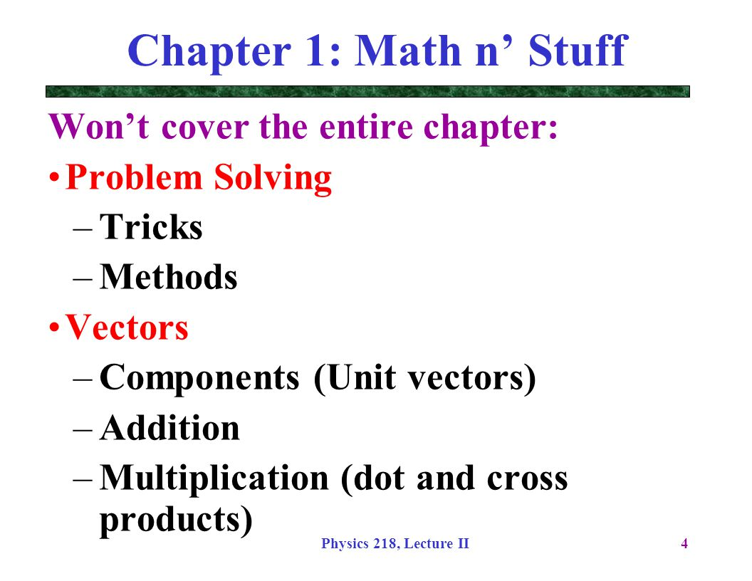 Physics 218, Lecture II25 Harder Example