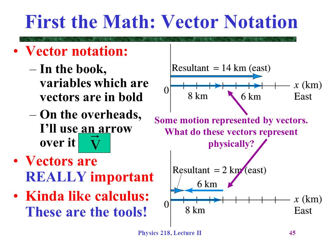 Physics 218, Lecture II45 Vector notation: –In the book, variables which are vectors are in bold –On the overheads, I'll use an arrow over it Vectors