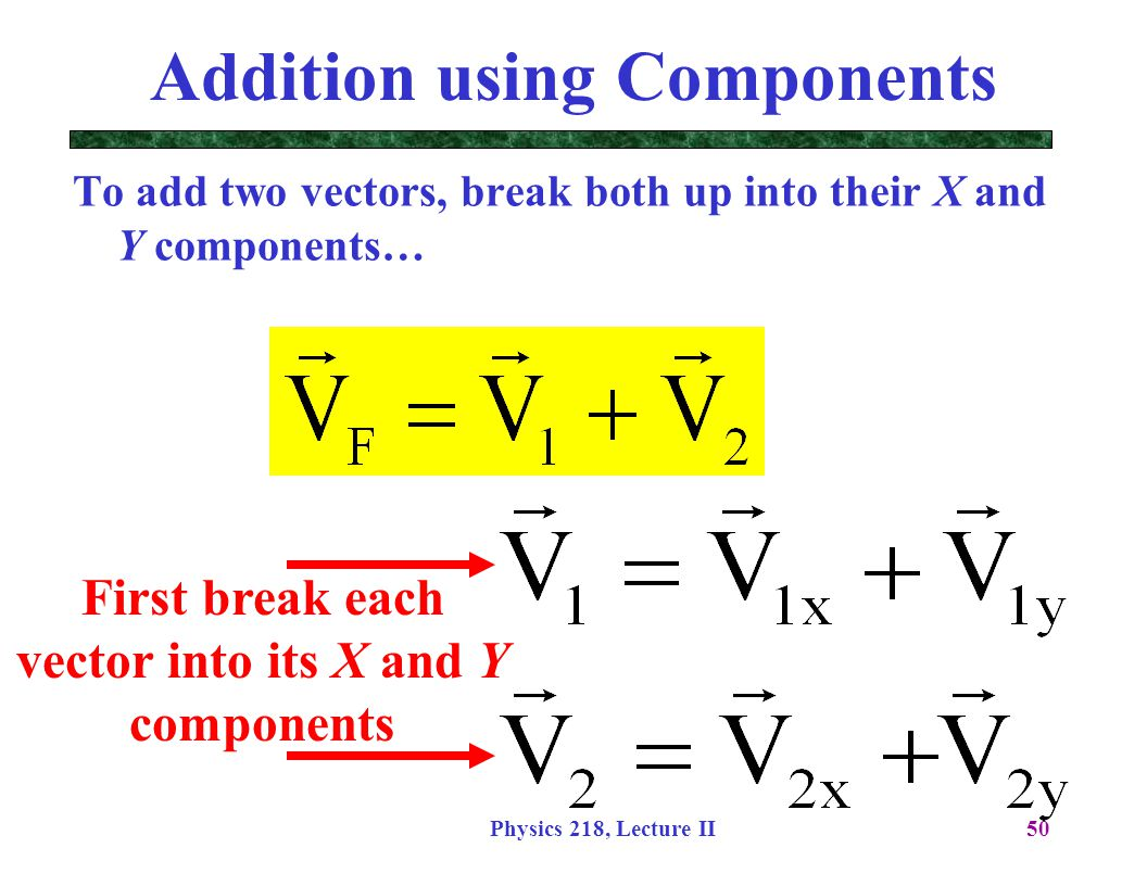 Physics 218, Lecture II50 Addition using Components To add two vectors, break both up into their X and Y components… First break each vector into its