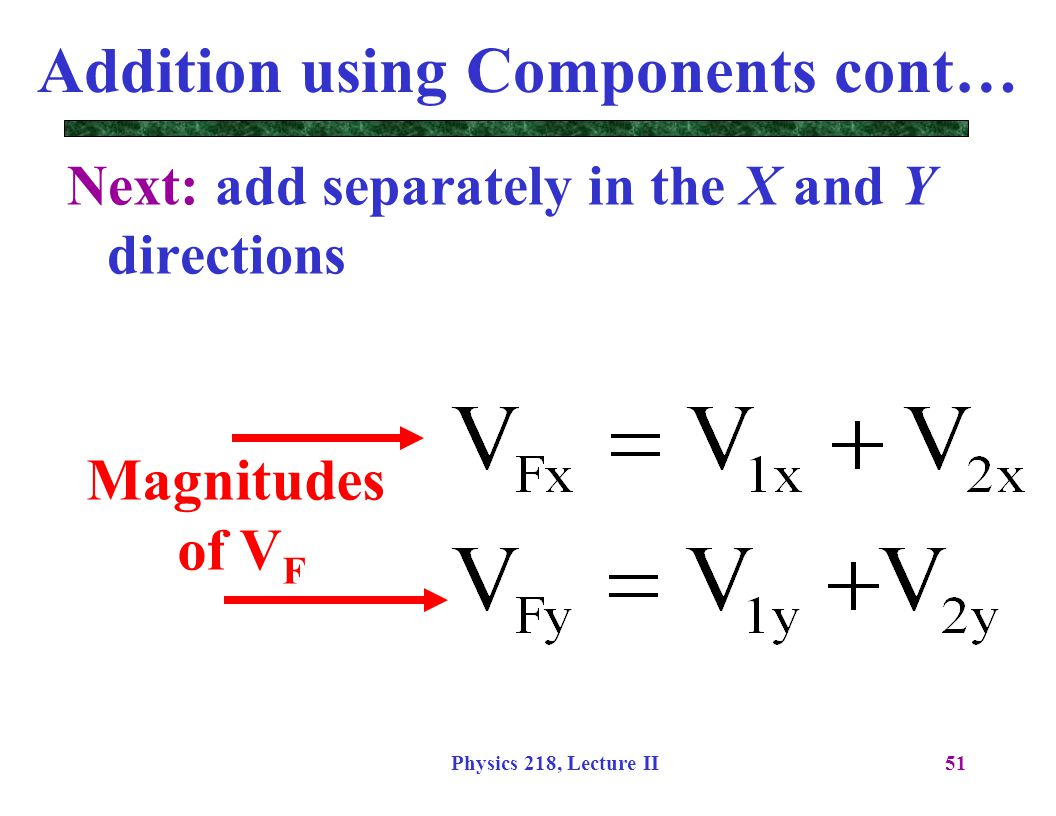 Physics 218, Lecture II51 Addition using Components cont… Next: add separately in the X and Y directions Magnitudes of V F