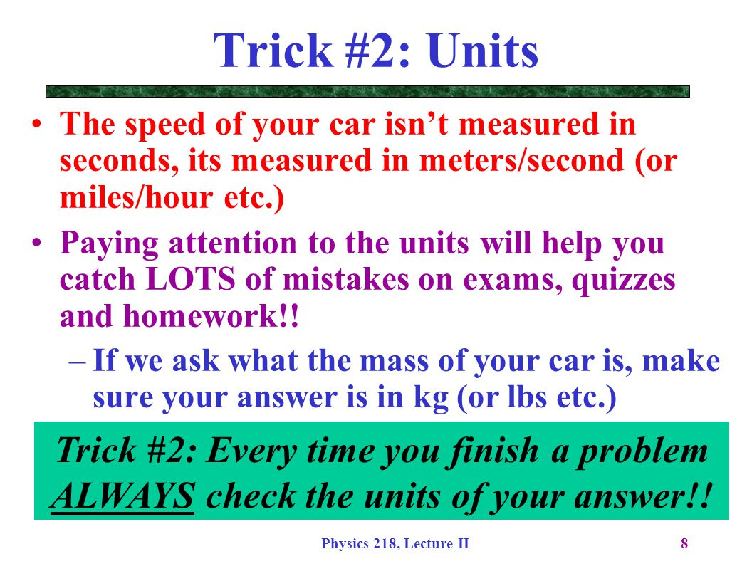 Physics 218, Lecture II49 Examples without an axis