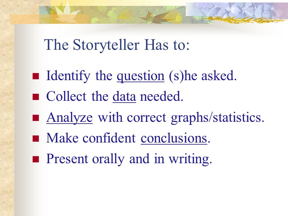 The Storyteller Has to: Identify the question (s)he asked.