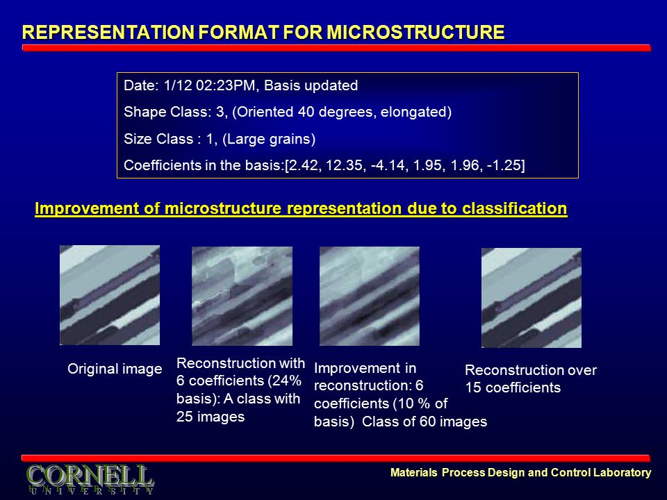 Materials Process Design and Control Laboratory REPRESENTATION FORMAT FOR MICROSTRUCTURE Improvement of microstructure representation due to classification Date: 1/12 02:23PM, Basis updated Shape Class: 3, (Oriented 40 degrees, elongated) Size Class : 1, (Large grains) Coefficients in the basis:[2.42, 12.35, -4.14, 1.95, 1.96, -1.25] Reconstruction with 6 coefficients (24% basis): A class with 25 images Improvement in reconstruction: 6 coefficients (10 % of basis) Class of 60 images Original image Reconstruction over 15 coefficients