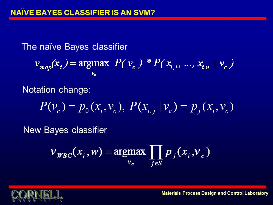 Materials Process Design and Control Laboratory Notation change: The naïve Bayes classifier New Bayes classifier NAÏVE BAYES CLASSIFIER IS AN SVM?