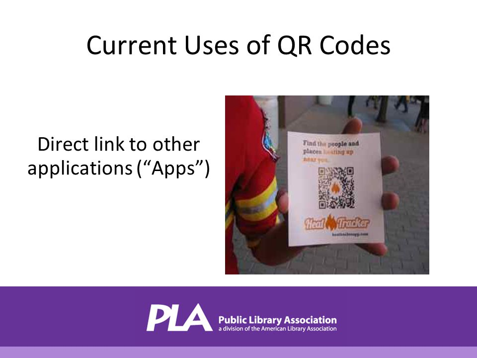 Current Uses of QR Codes Direct link to other applications ( Apps )
