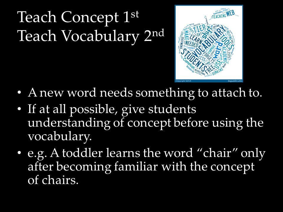 Teach Concept 1 st Teach Vocabulary 2 nd A new word needs something to attach to.