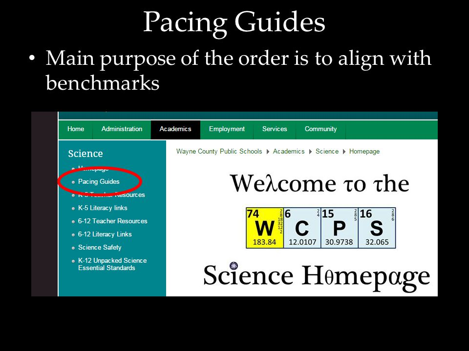 Pacing Guides Main purpose of the order is to align with benchmarks