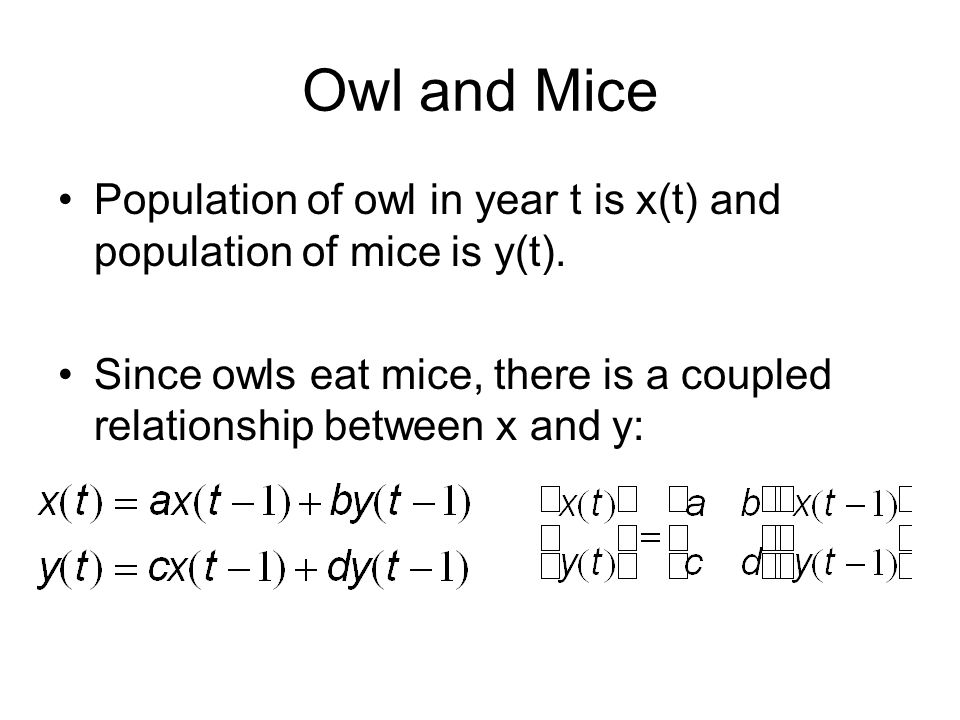 Owl and Mice Population of owl in year t is x(t) and population of mice is y(t). Since owls eat mice, there is a coupled relationship between x and y: