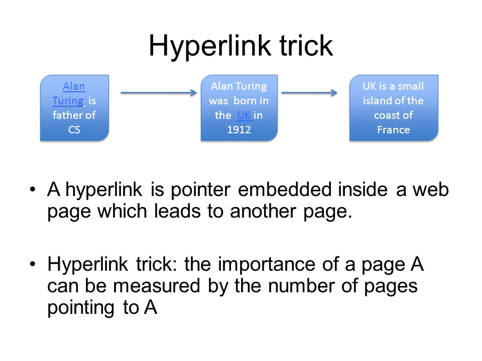 Hyperlink example The importance of A is 2 The importance of E is 3 Computers are bad in understanding the content of pages but good at counting Importance based just on the count of hyperlinks can be easily exploited A A B B D D C C E E F F