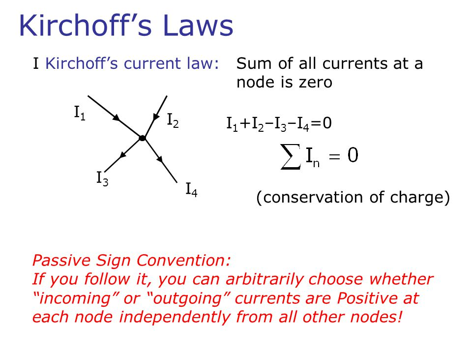 II Kirchoff's voltage law:Around a closed loop the net change of potential is zero V0V0 I R1R1 R2R2 R3R3 -V 0 +IR 1 +IR 2 +IR 3 =0 5V 3kΩ 4kΩ Calculate the voltage across R 2 5V=I(1+3+4)kΩ V R2 =62.5mA×3kΩ=1.9V 1kΩ Passive Sign Convention really helps!!.