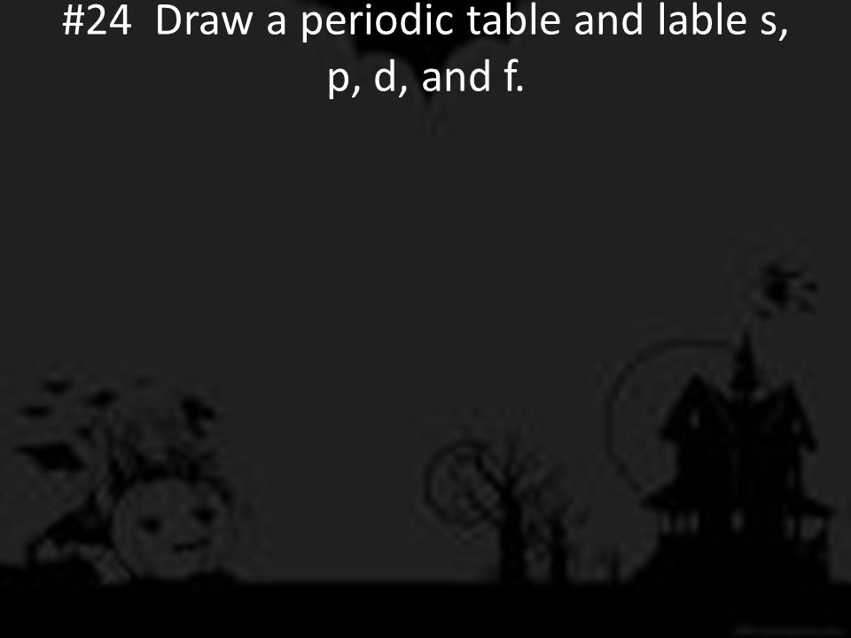 #24 Draw a periodic table and lable s, p, d, and f.