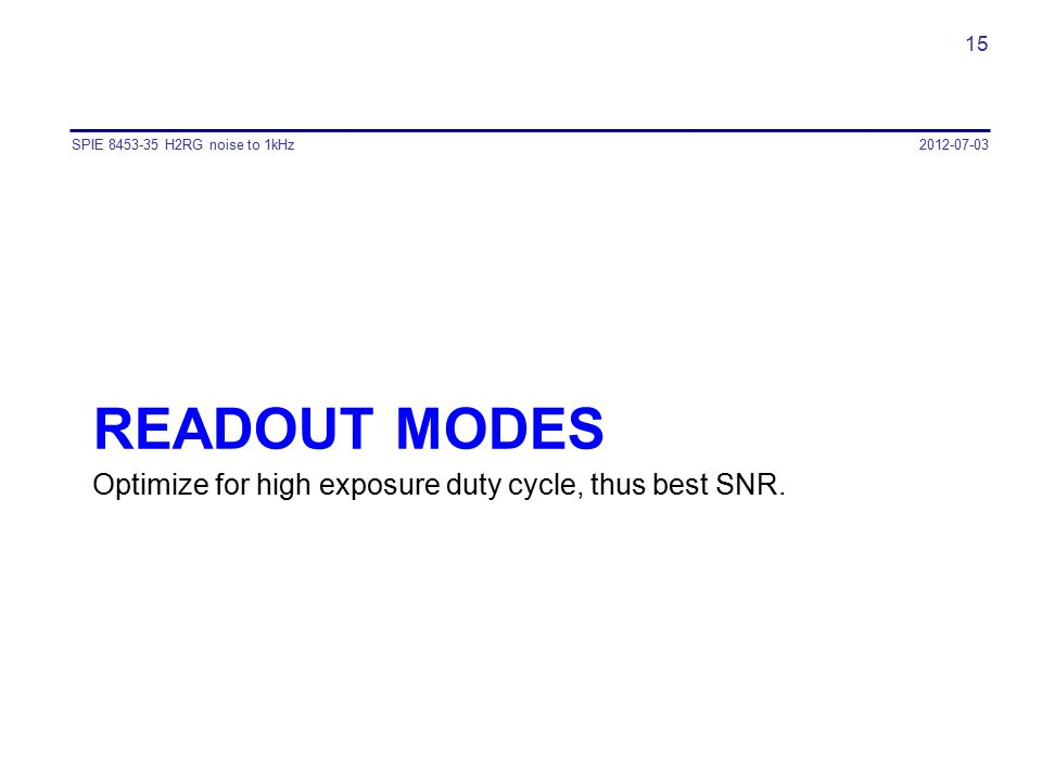 READOUT MODES Optimize for high exposure duty cycle, thus best SNR. 2012-07-03SPIE 8453-35 H2RG noise to 1kHz 15