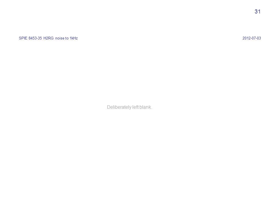 31 2012-07-03SPIE 8453-35 H2RG noise to 1kHz Deliberately left blank.