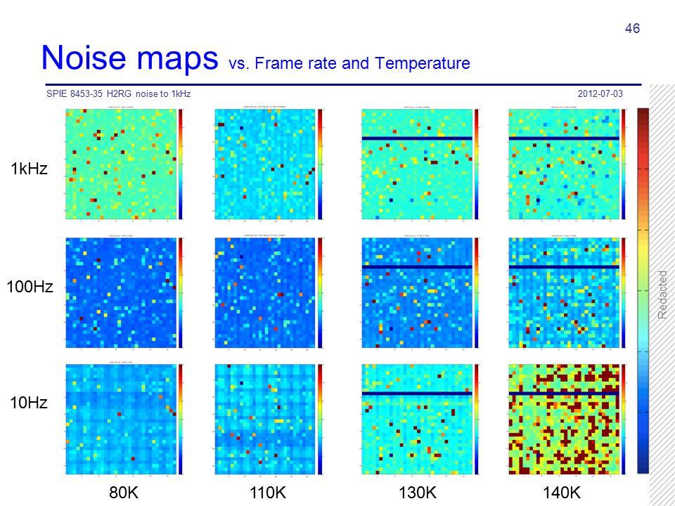 Noise maps vs. Frame rate and Temperature 2012-07-03SPIE 8453-35 H2RG noise to 1kHz 46 100Hz 10Hz 1kHz 80K 110K 130K 140K Redacted
