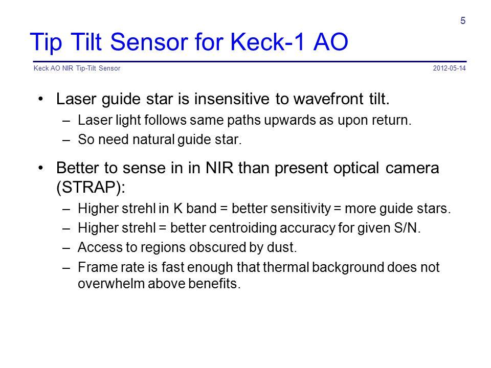 Tip Tilt Sensor for Keck-1 AO Laser guide star is insensitive to wavefront tilt. –Laser light follows same paths upwards as upon return. –So need natu
