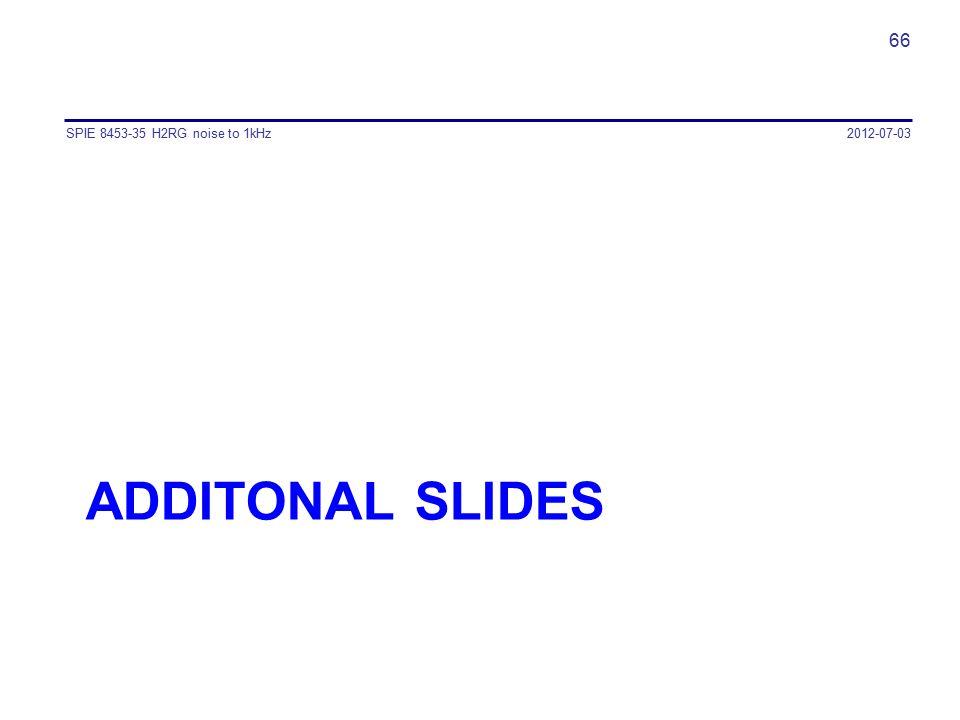 ADDITONAL SLIDES 2012-07-03SPIE 8453-35 H2RG noise to 1kHz 66