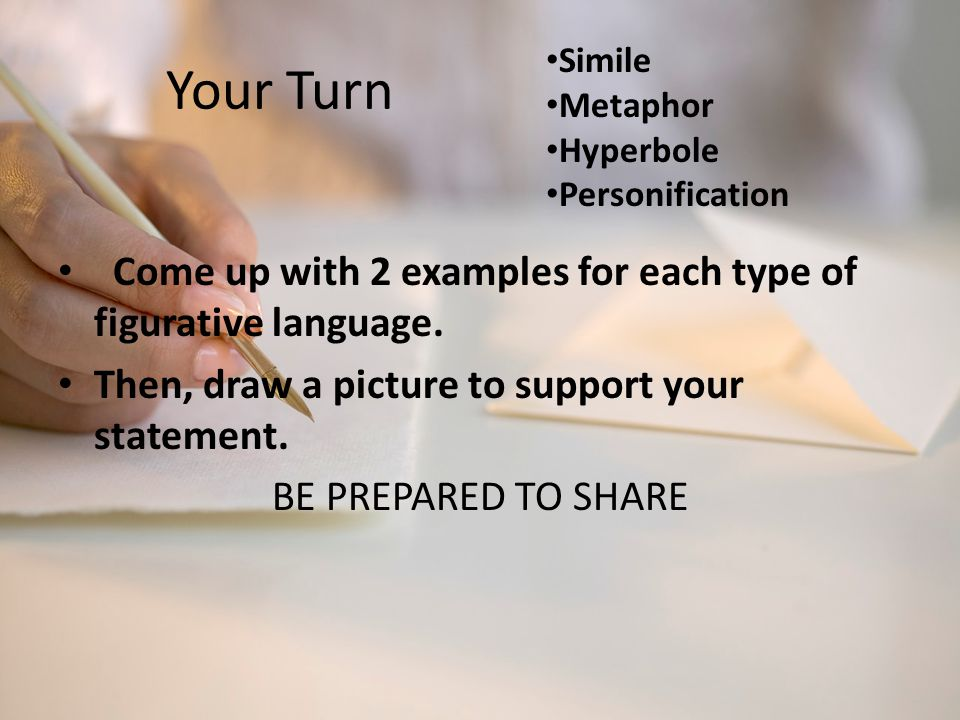 Your Turn Come up with 2 examples for each type of figurative language. Then, draw a picture to support your statement. BE PREPARED TO SHARE Simile Me