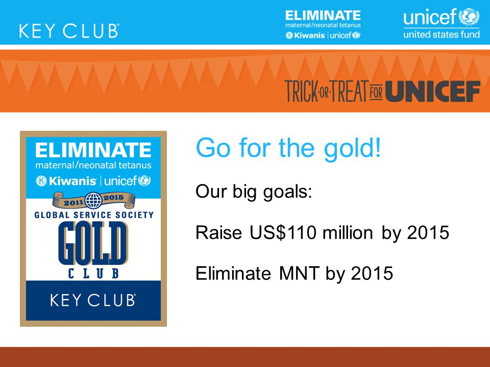 Go for the gold! Our big goals: Raise US$110 million by 2015 Eliminate MNT by 2015