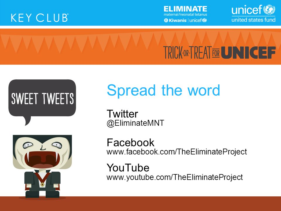 Spread the word Twitter @EliminateMNT Facebook www.facebook.com/TheEliminateProject YouTube www.youtube.com/TheEliminateProject