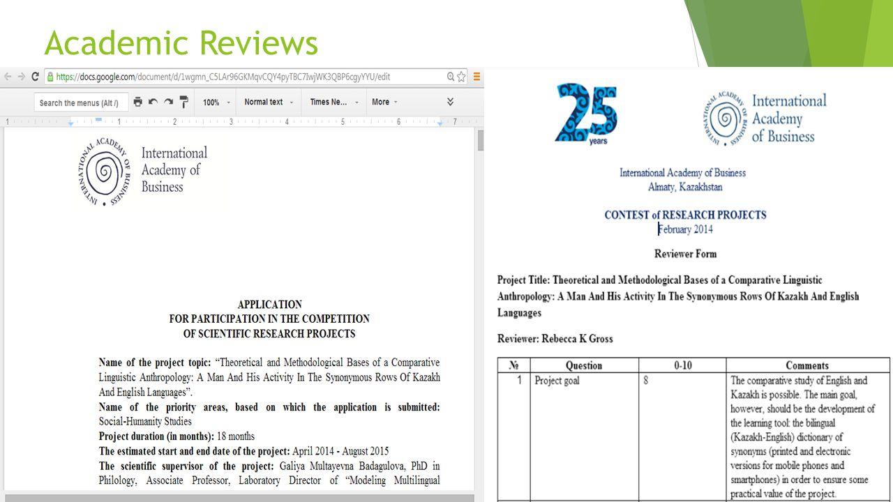 Academic Reviews