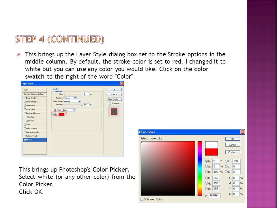 This brings up the Layer Style dialog box set to the Stroke options in the middle column.