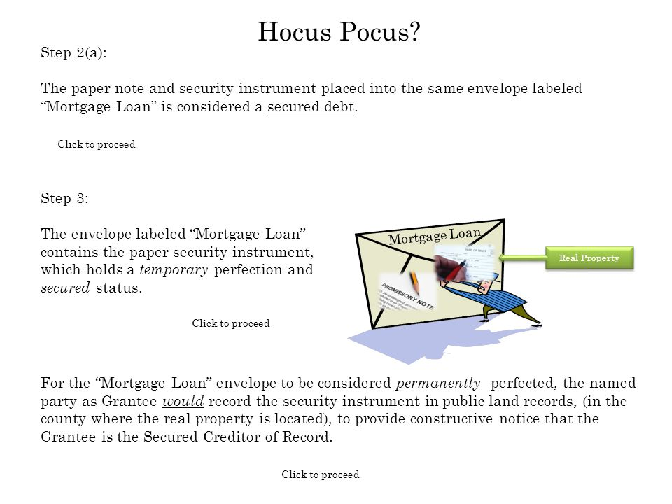 "Step 3: The envelope labeled ""Mortgage Loan"" contains the paper security instrument, which holds a temporary perfection and secured status. Mortgage L"