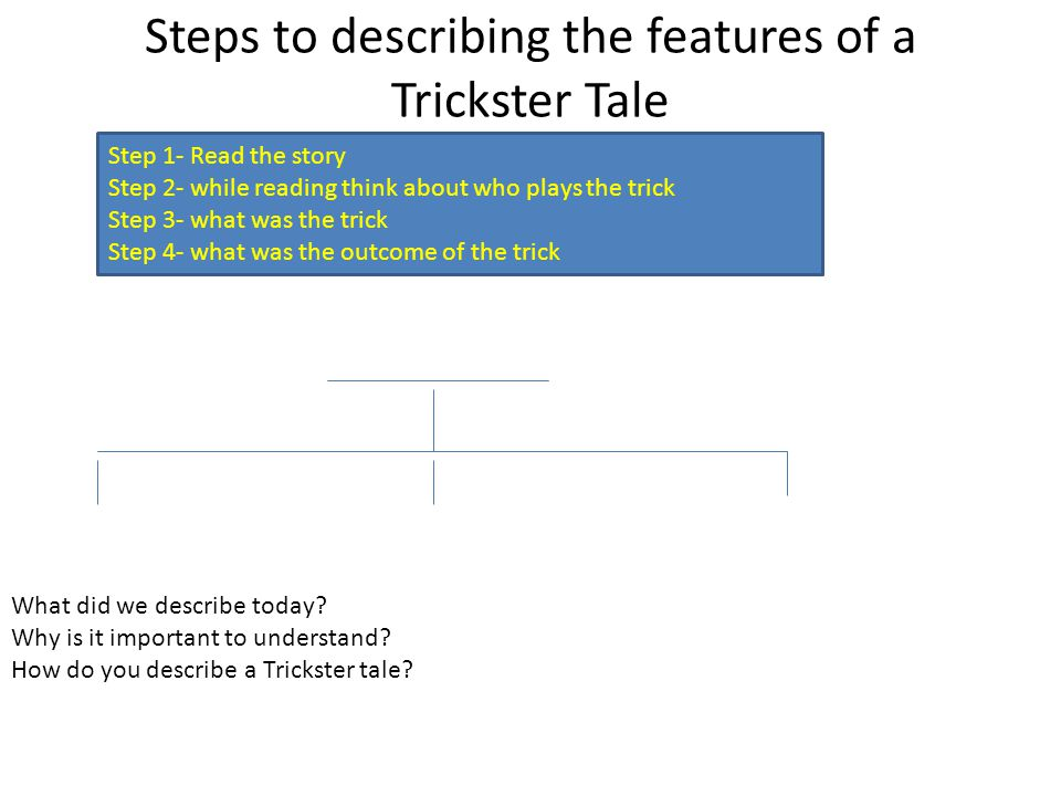 Steps to describing the features of a Trickster Tale Step 1- Read the story Step 2- while reading think about who plays the trick Step 3- what was the trick Step 4- what was the outcome of the trick (Make copies for students)