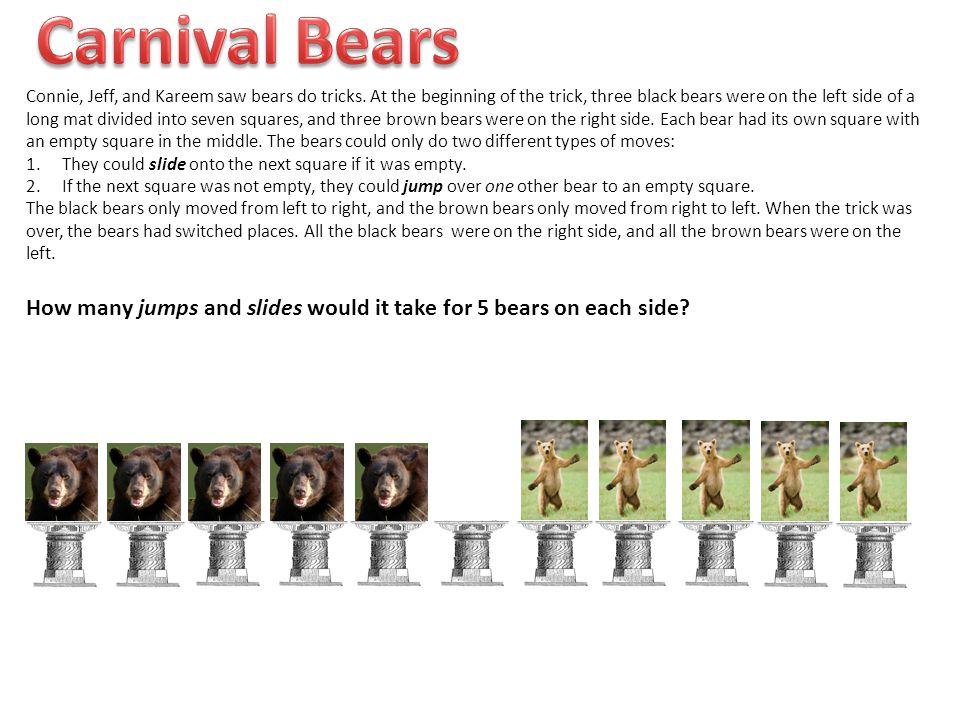 Connie, Jeff, and Kareem saw bears do tricks.