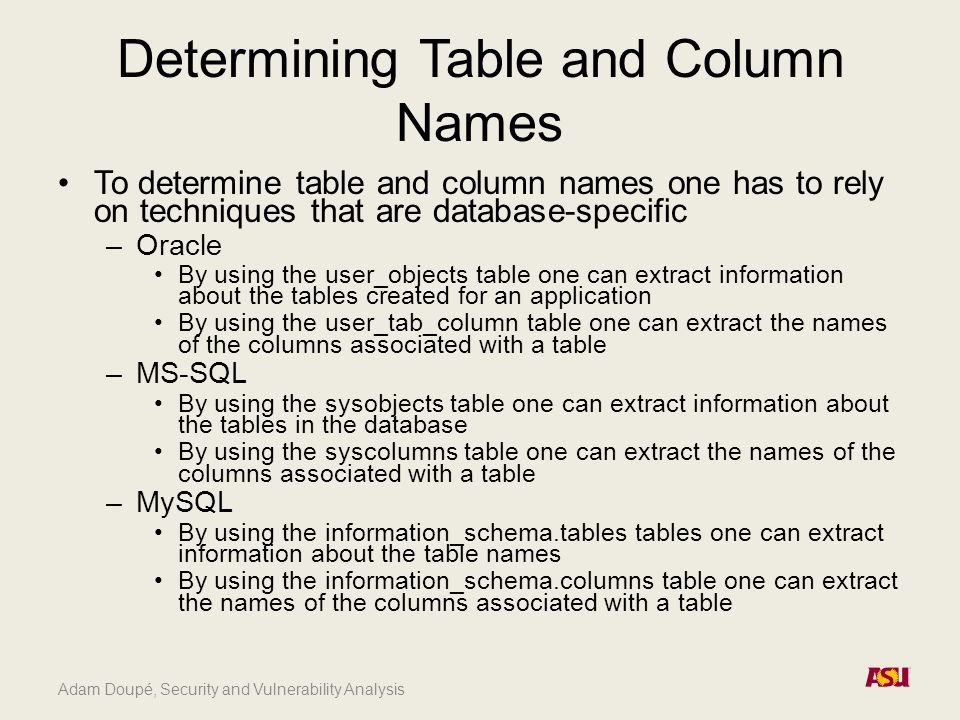 Adam Doupé, Security and Vulnerability Analysis Determining Table and Column Names To determine table and column names one has to rely on techniques that are database-specific –Oracle By using the user_objects table one can extract information about the tables created for an application By using the user_tab_column table one can extract the names of the columns associated with a table –MS-SQL By using the sysobjects table one can extract information about the tables in the database By using the syscolumns table one can extract the names of the columns associated with a table –MySQL By using the information_schema.tables tables one can extract information about the table names By using the information_schema.columns table one can extract the names of the columns associated with a table