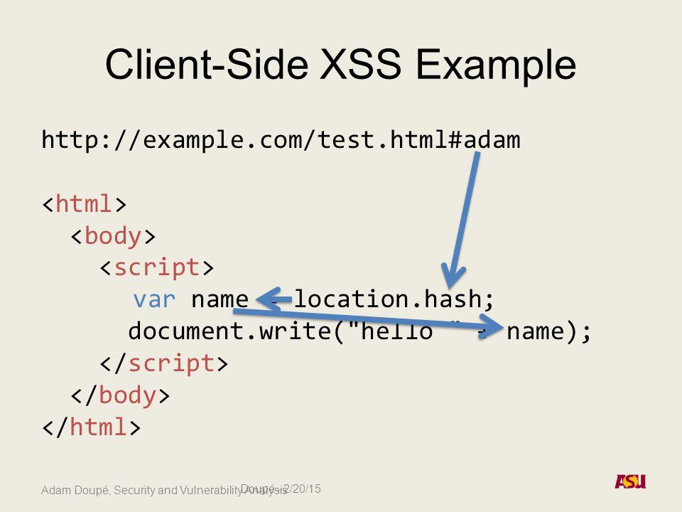 Adam Doupé, Security and Vulnerability Analysis Client-Side XSS Example http://example.com/test.html#adam var name = location.hash; document.write( hello + name); Doupé - 2/20/15