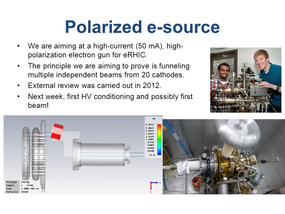 Polarized e-source We are aiming at a high-current (50 mA), high- polarization electron gun for eRHIC.
